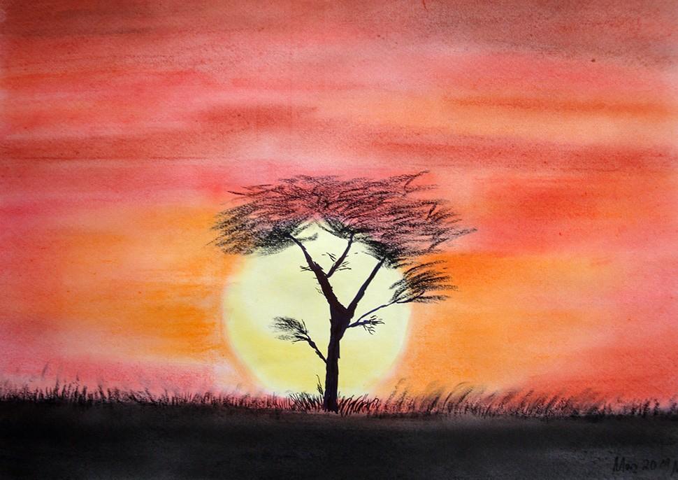 Pastellmalerei: »Sonnenaufgang in Afrika«, März 2011 | © mh