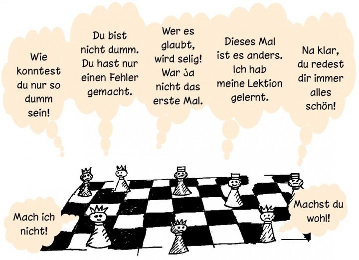 Cartoon: »Raus aus der Glücksfalle« von Russ Harris, Schachfiguren mit Sprechblasen