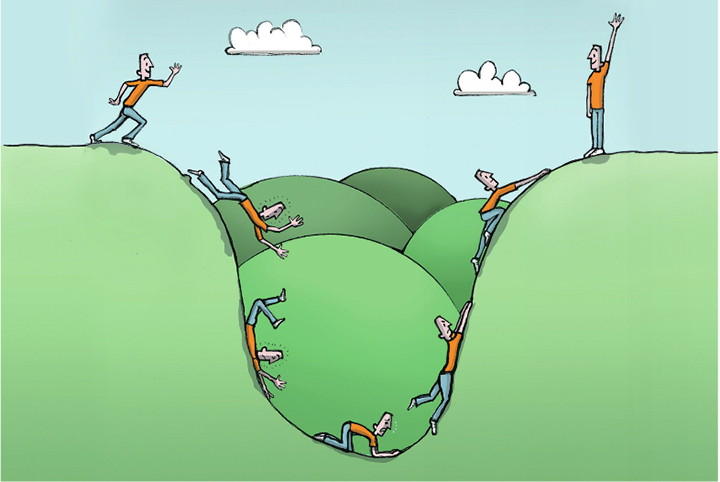 Cartoon einer Person, die in ein Loch fällt und wieder rauskrabbelt.