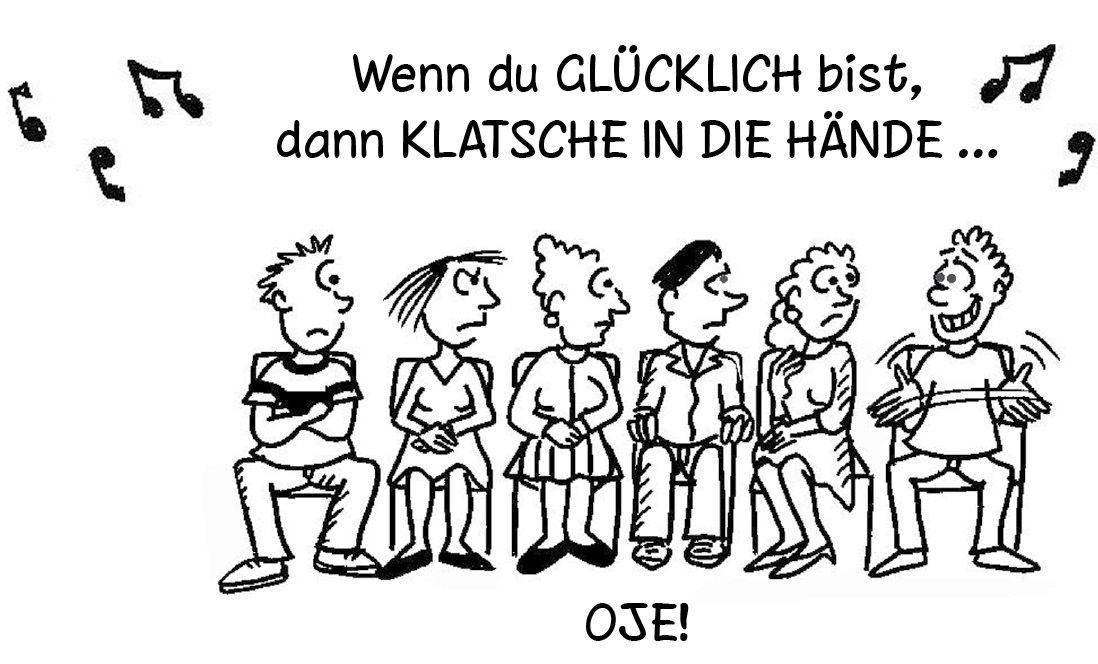 Cartoon: Wenn Du glücklich bist, dann klatsche in die Hände